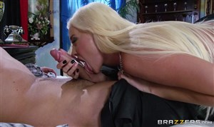 Blonde with big boobs having sex with a man