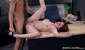 Redhead fucked in office by her colleague