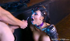 Brunette with silicone breast