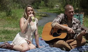 Beautiful blonde fucked at a picnic with her boyfriend