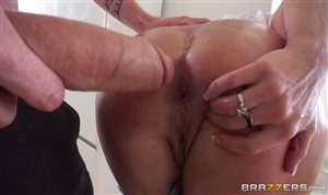 Mature brunette takes a huge dick in her big ass