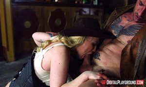 Blonde cowgirl gets fucked at the saloon