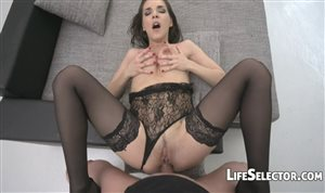 Russian brunette babe Alina Henessy in black stockings sucks cock well