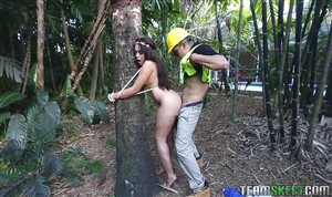 Jaye Austin tied to a tree and fucked