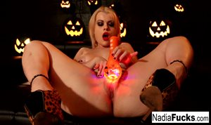Nadia White masturbates for Halloween