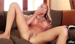 Gorgeous blonde babe Samantha Saint spread her legs and masturbates
