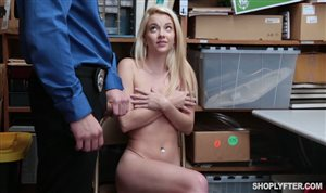 Cute blonde Riley Star sucks and rides police officer's cock hard