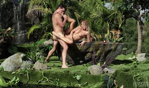 Sexy blonde Jessica Drake is fucked in the jungle