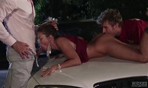 Two guys fuck sexy blonde cougar on the car hood