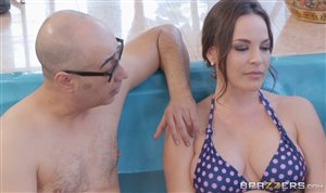 Horny step mom fucking her son in the pool