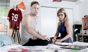 Hot blonde MILF Cory Chase teaches Jane Wilde how to rides a man FFM