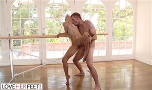 Ballerina cutie Izzy Bell sucks and fucked hard by a big cock