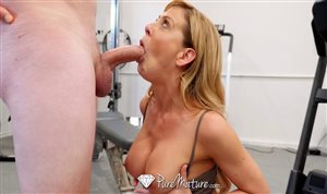 Sexy blonde MILF blows cock in the gym